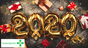 Happy New Year 2020 golden baloons